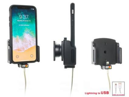 houder verstelb. Apple iPhone X lightning->USB (70-83 / 2-10mm)