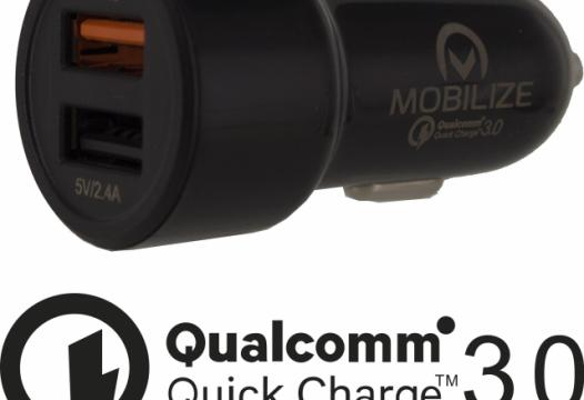 Smart Car Charger Dual USB 4.8A with Qualcomm QC3.0 Black